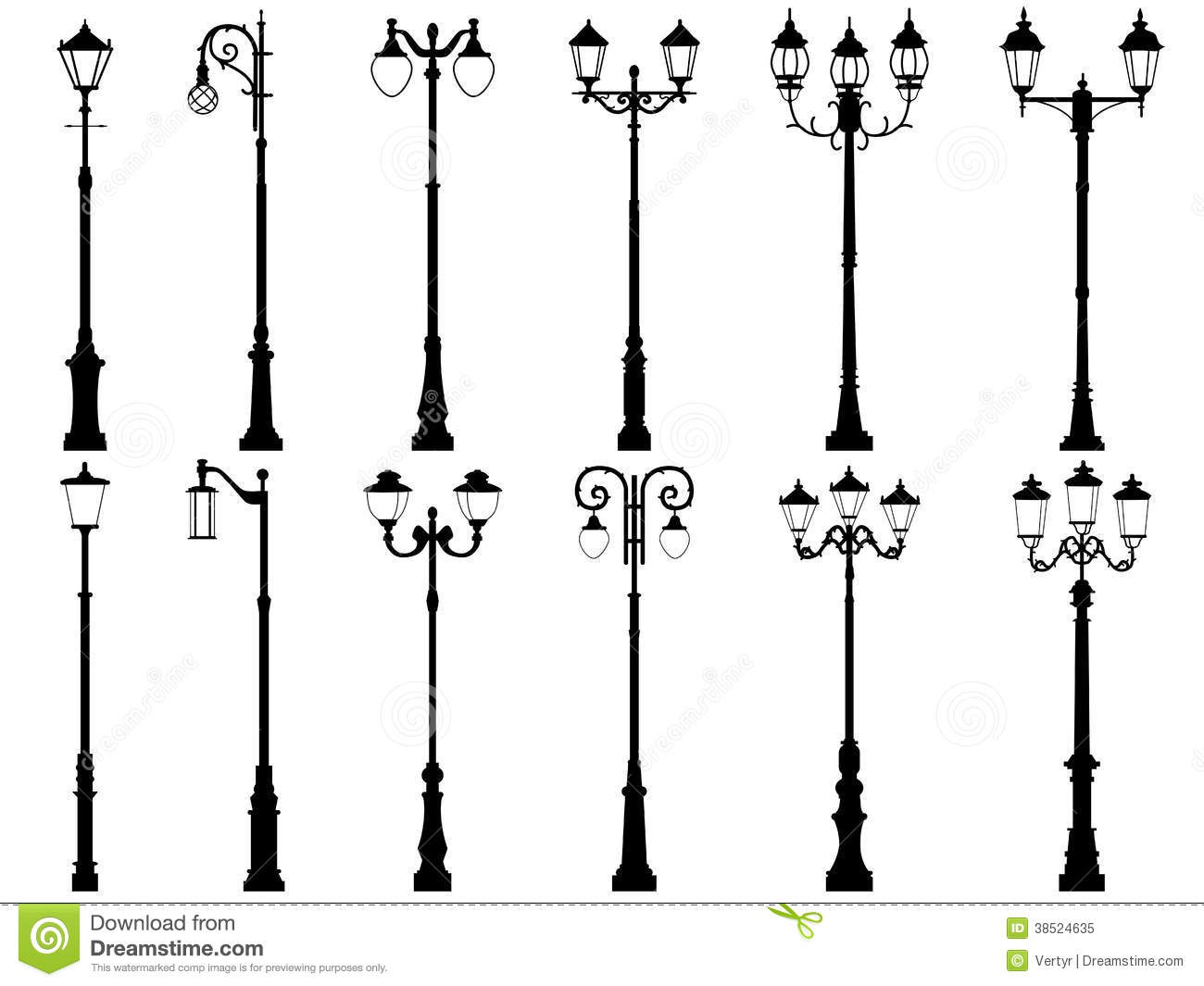 set of vector silhouettes of lamppost  stock vector