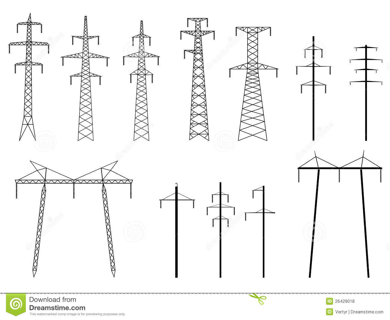 set of vector silhouettes of pylons power line  royalty