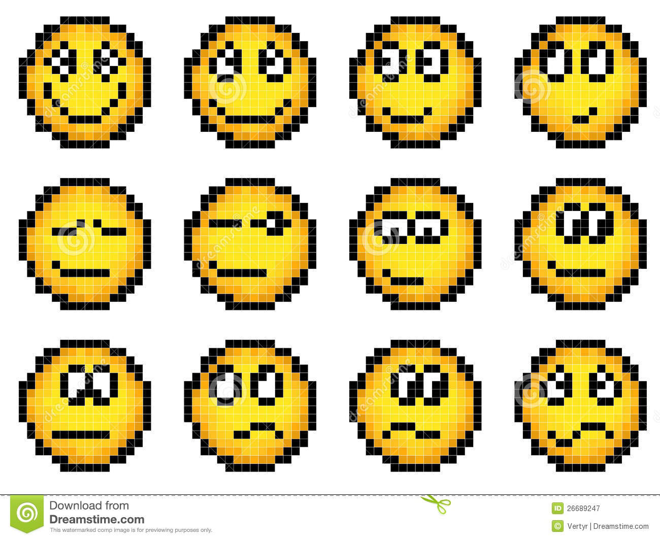 Set of vector simple yellow pixel smiley (computer graphic(16x16 cells ...