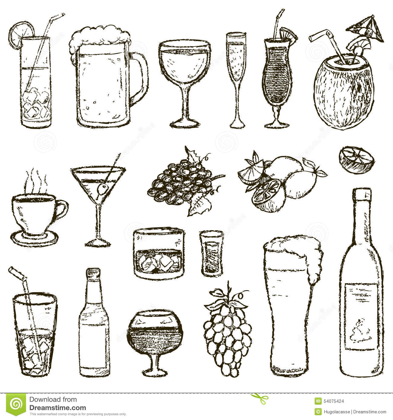 set of vector sketch cocktails and alcohol drinks stock vector