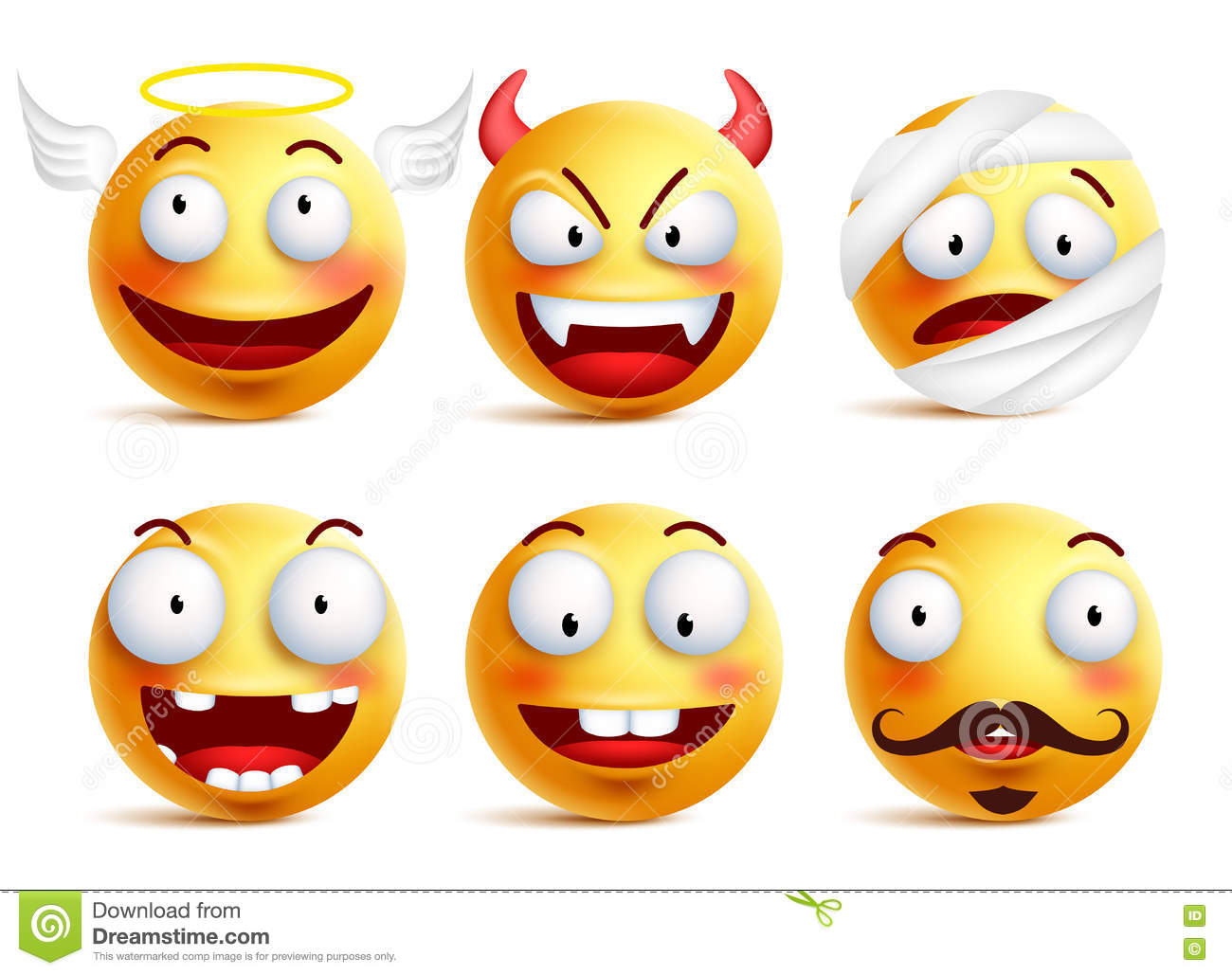 Set of vector smileys with funny faces like angel and demon