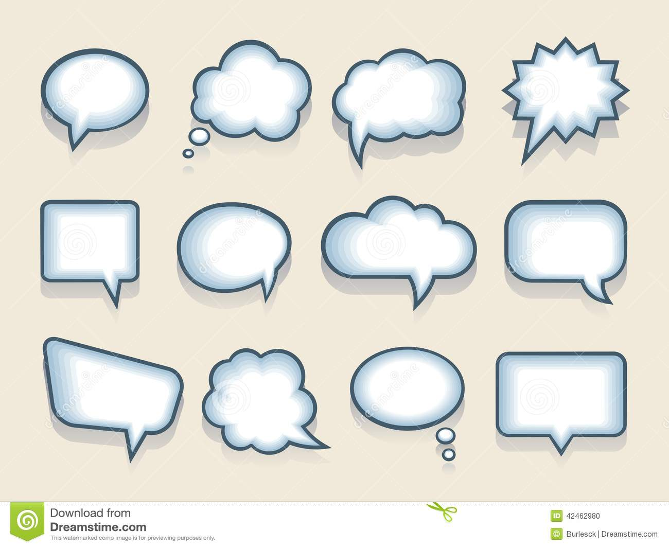 Stock Illustration Set Vector Speech Thought Bubbles Twelve Blank Funny Cartoon Variety Shapes Interior Blue Shading Image42462980 on funny cartoon animals labels vector
