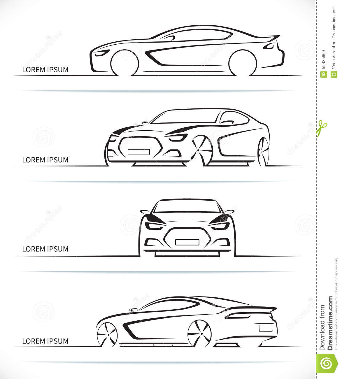 Set Of Vector Sports Car Silhouettes Stock Vector