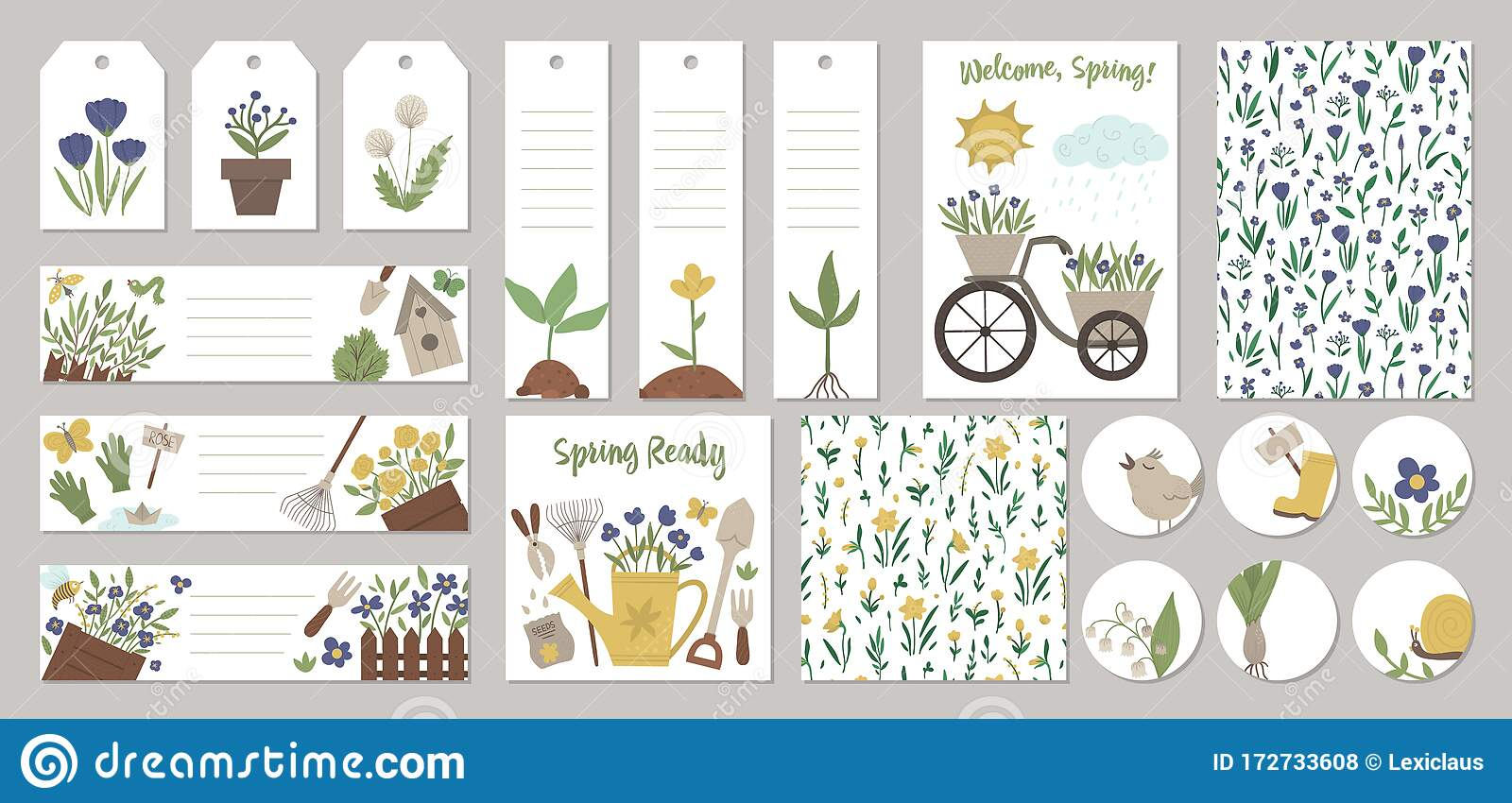 Set Of Vector Spring Garden Card Templates, Gift Tags, Labels, Pre