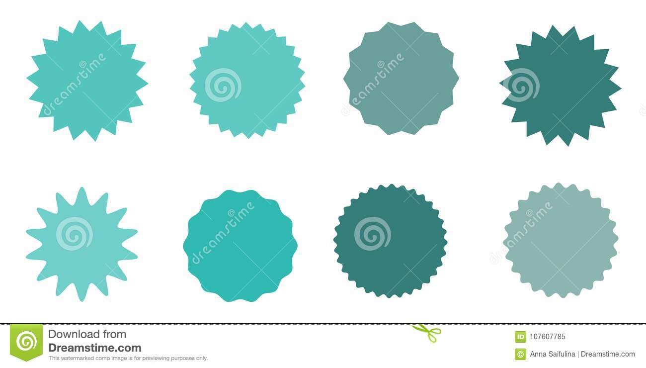 Set of vector starburst sunburst badges vintage labels colored stickers a collection of different types and colors icon