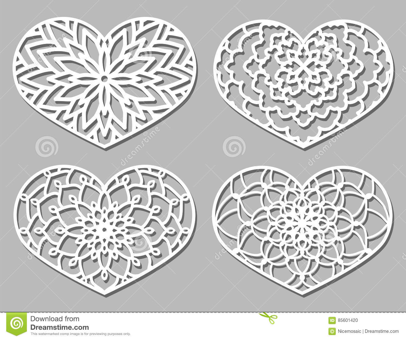 Set Of Vector Stencil Lacy Hearts With Carved Openwork