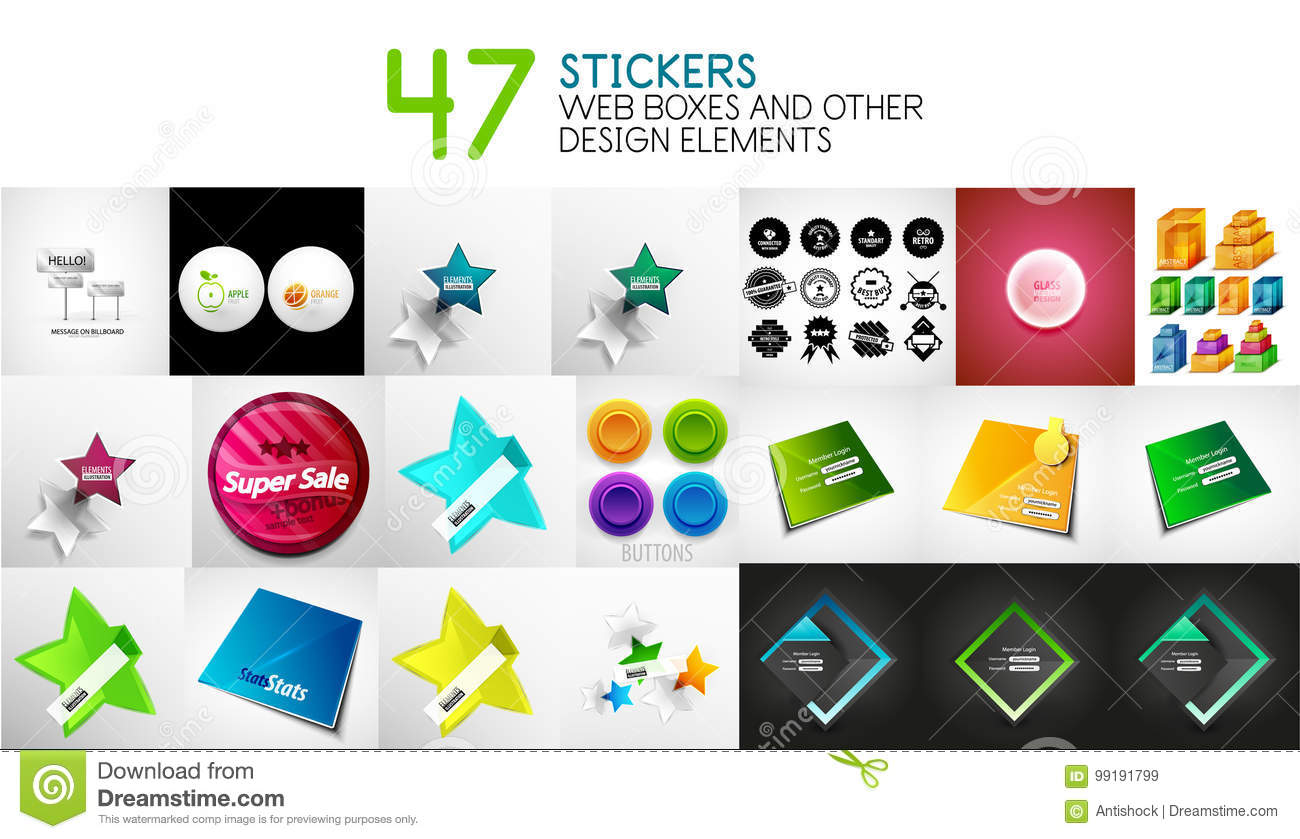 Set of vector stickers labels web design interface elements and login forms