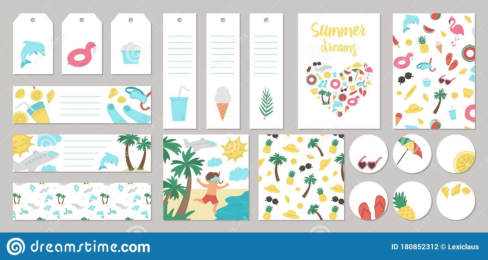 Set Of Vector Summer Gift Tags Labels Pre Made Designs Bookmarks With Palm Tree Plane Sunglasses Inflatable Rings Funny Stock Vector Illustration Of Cartoon Background 180852312
