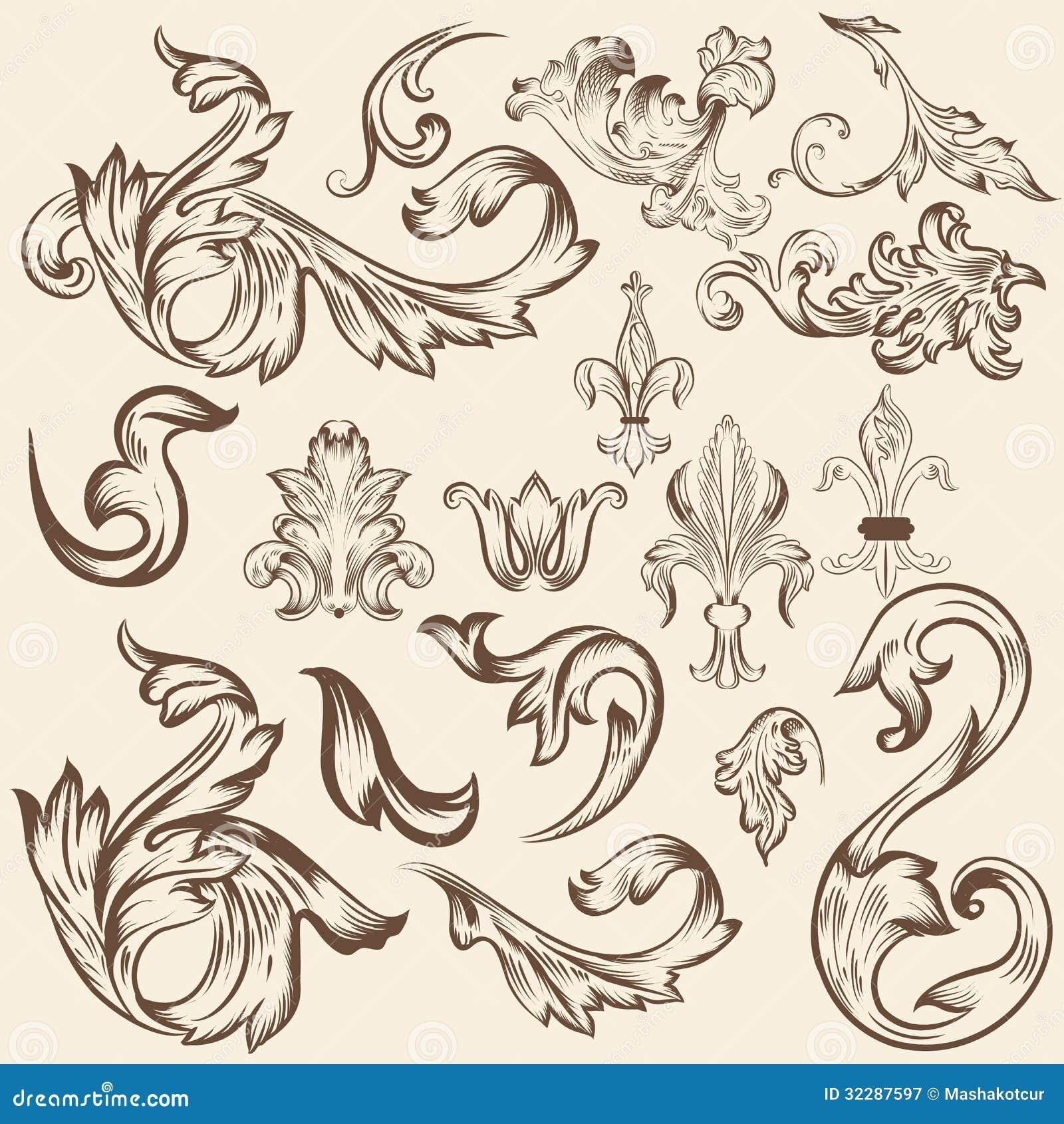 Set of vector swirls for design stock image