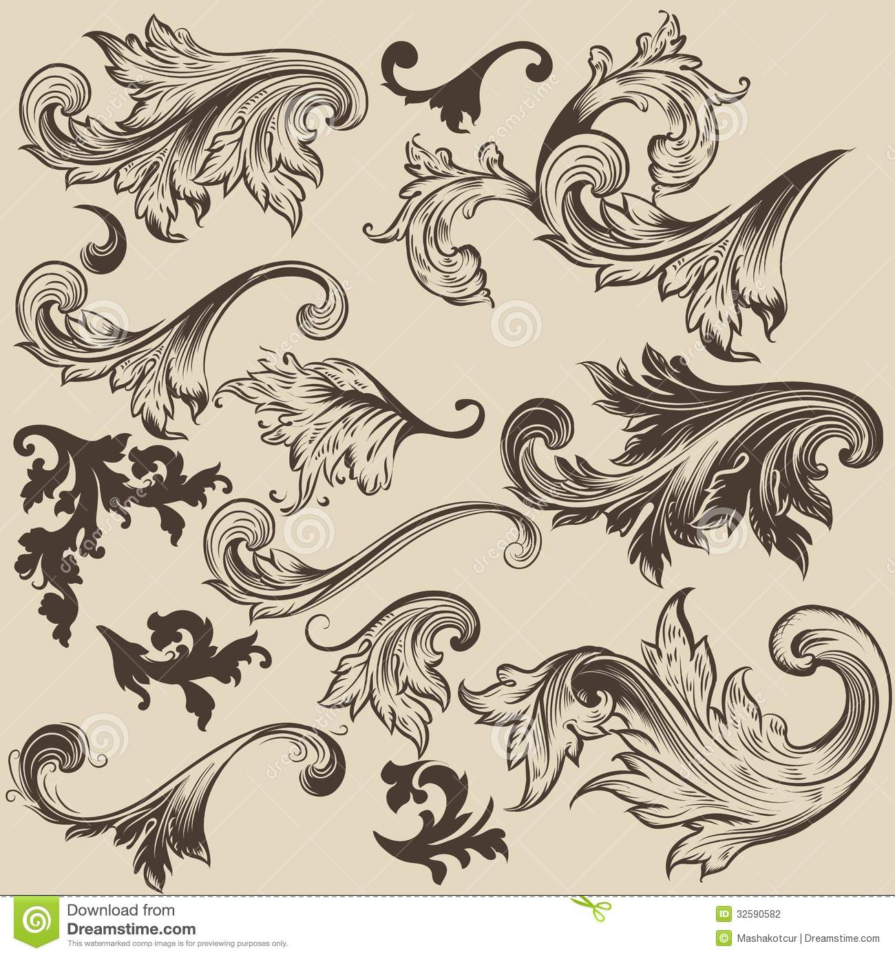 Set of vector swirls in vintage style for design stock