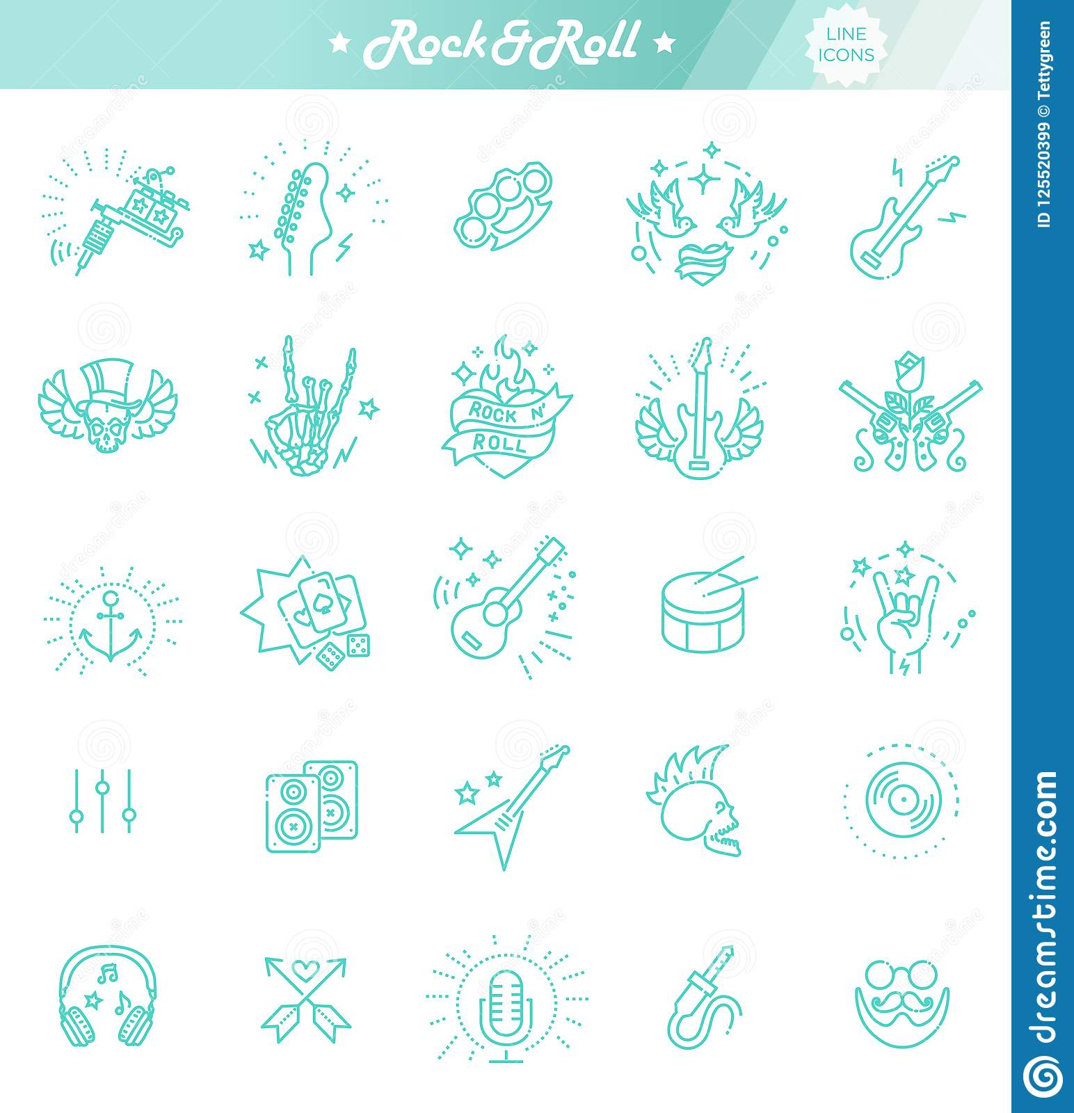 85d3ed0b6 Rock And Roll Line Icon Set. Vector Icons Stock Vector ...