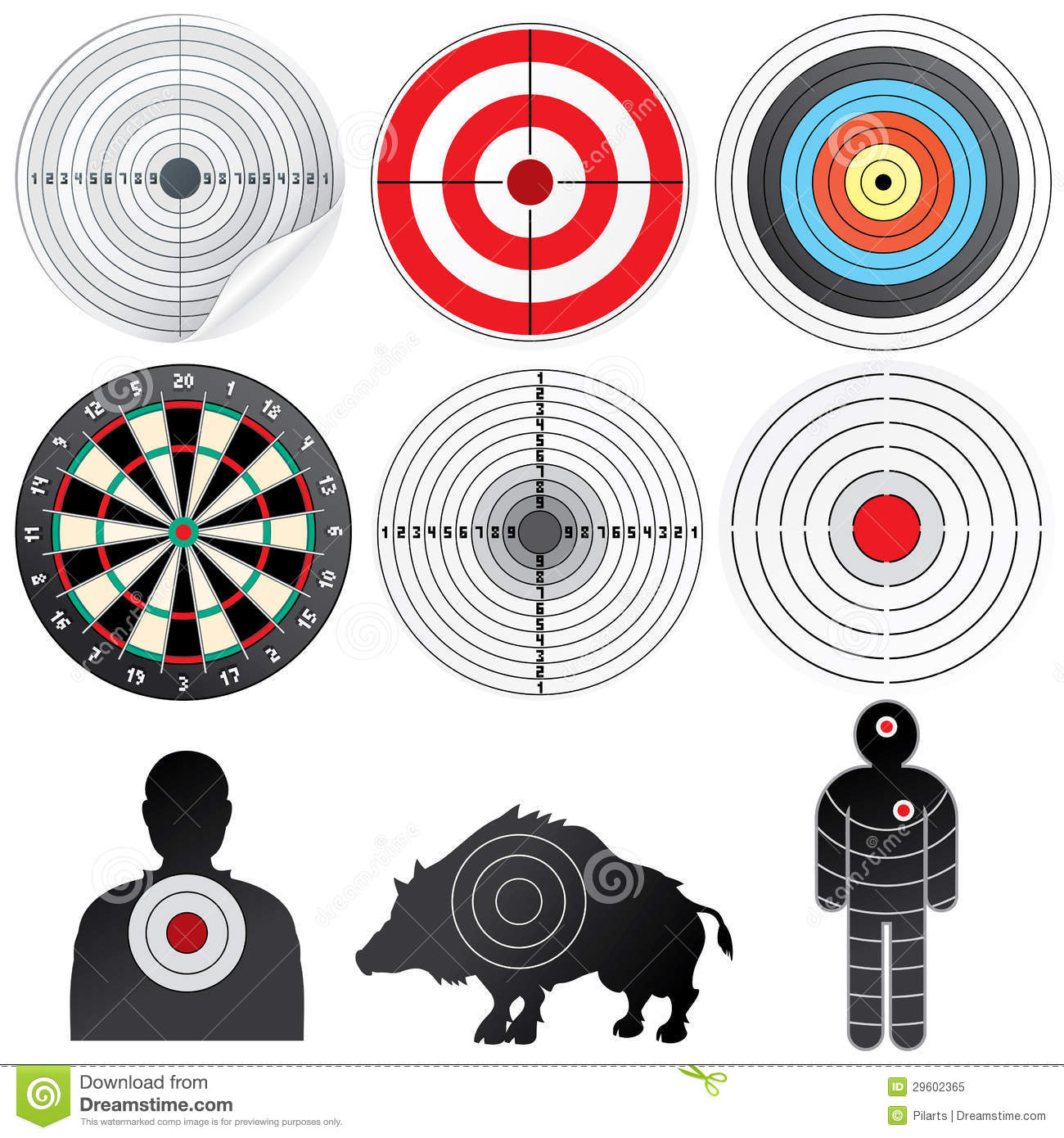 Set Of Vector Targets And Dummies. Stock Vector ...