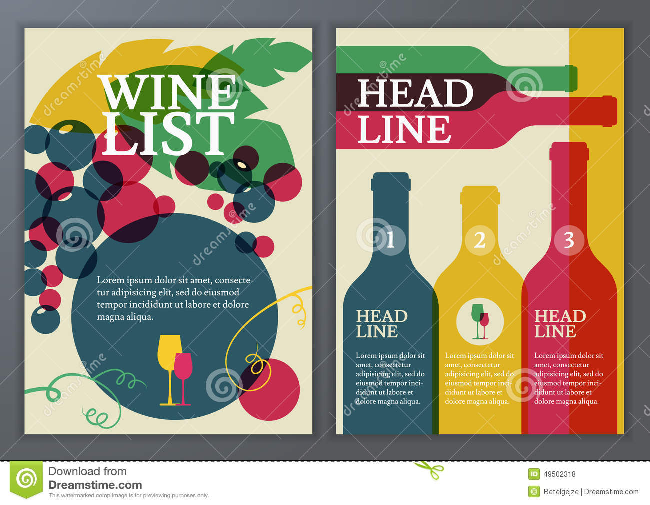 Set Of Vector Template For Brochure Flyer Poster Wine List M