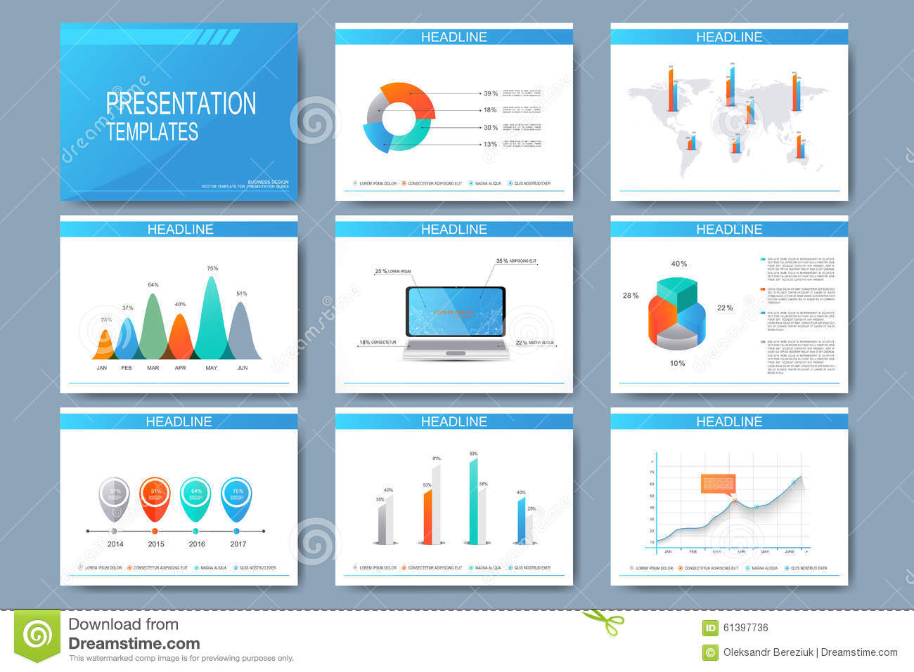 set of vector templates for presentation slides modern business