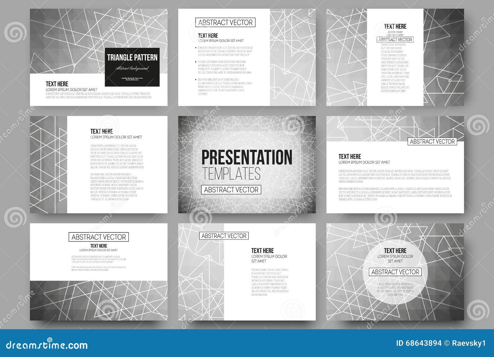Set Of 9 Vector Templates For Presentation Slides Sacred Geometry Triangle Design Gray Background
