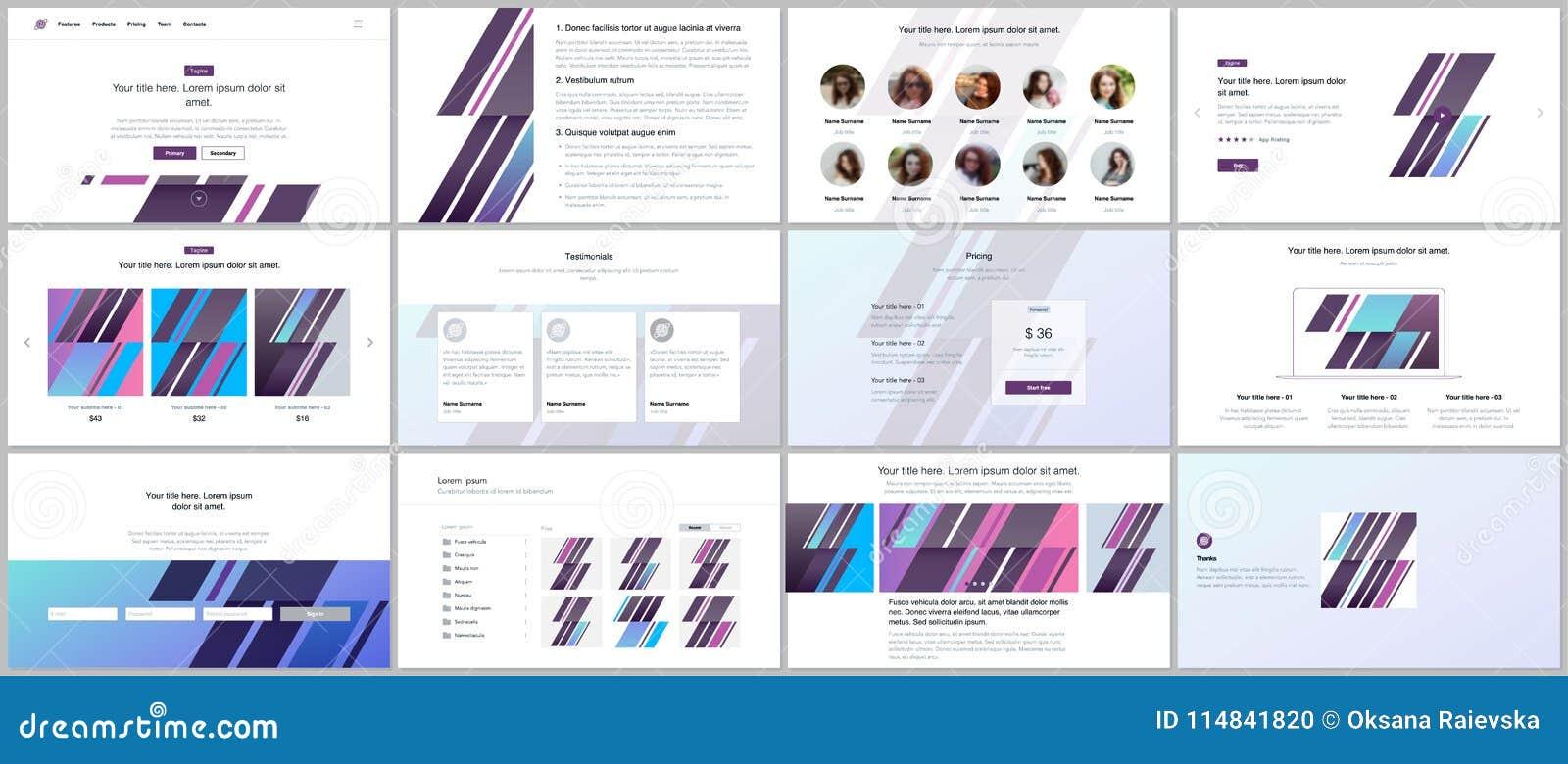 set of vector templates for website design minimal presentation