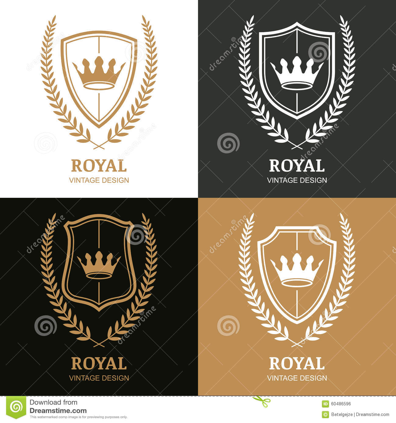 Set of vector vintage logo design template stock vector for Laurel leaf crown template
