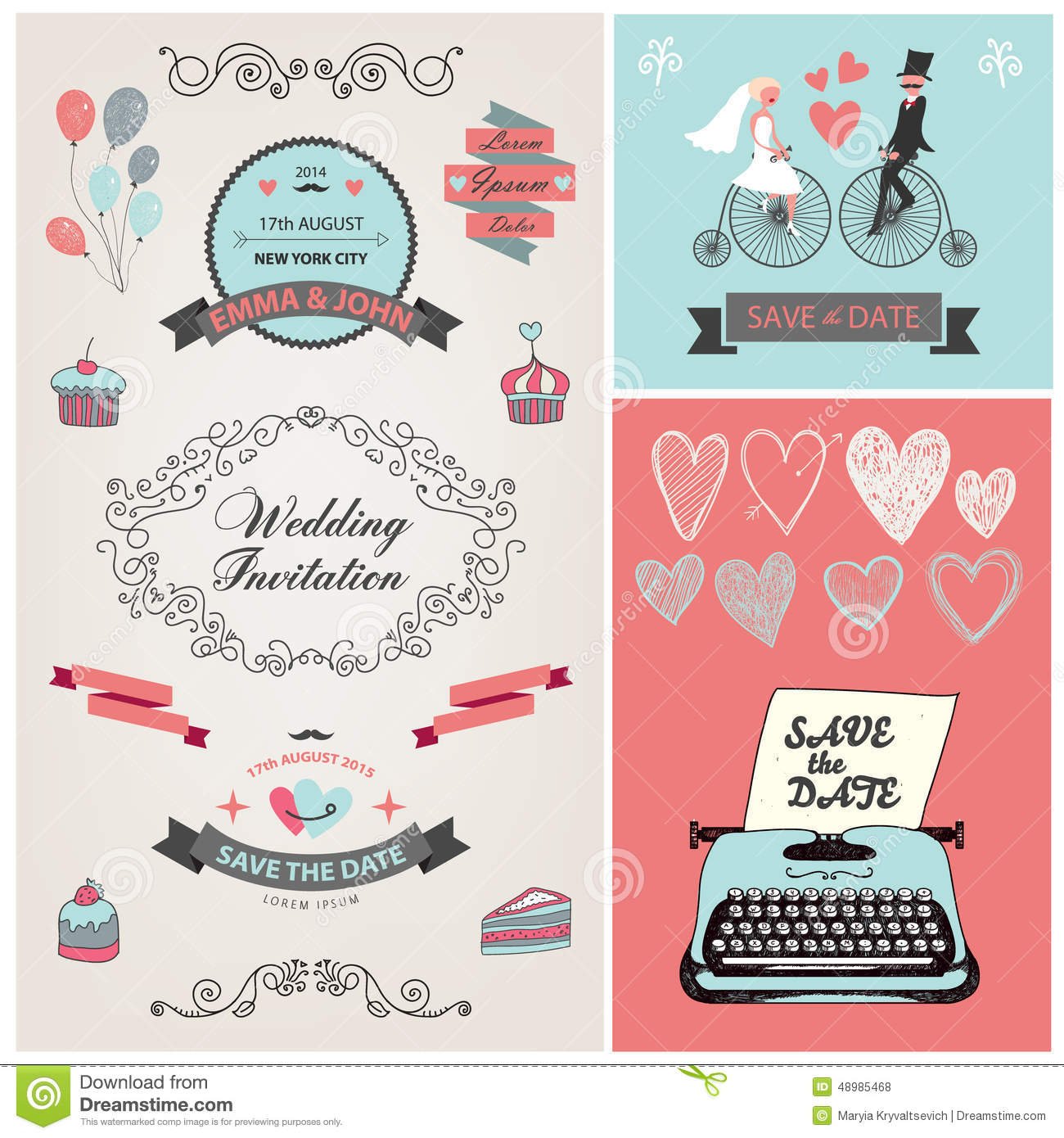 Set of vector vintage wedding invitation design stock vector set of vector vintage wedding invitation design groom engagement stopboris Image collections