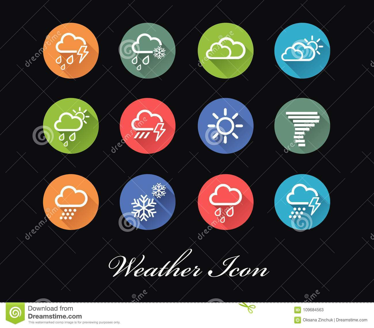 Set Of Vector Weather Forecast Icons And Signs Stock Vector