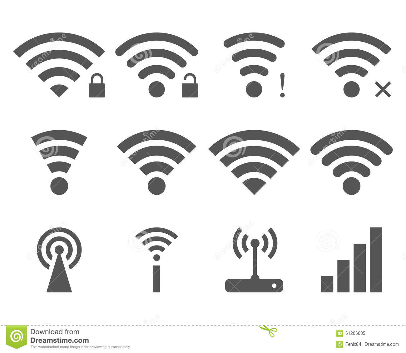 set of vector wireless icons for wifi remote control access and radio communication vector. Black Bedroom Furniture Sets. Home Design Ideas