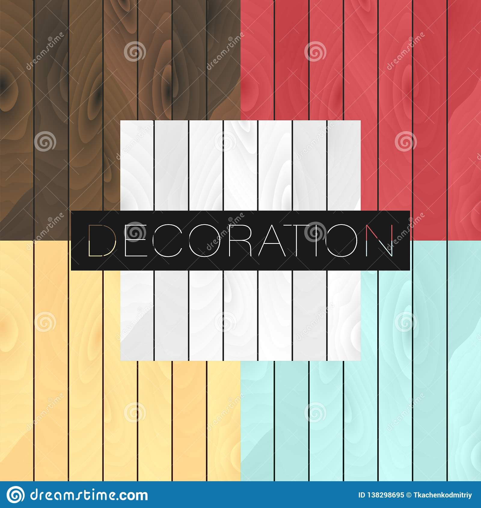 Set of 5 vector wood realistic textures colors