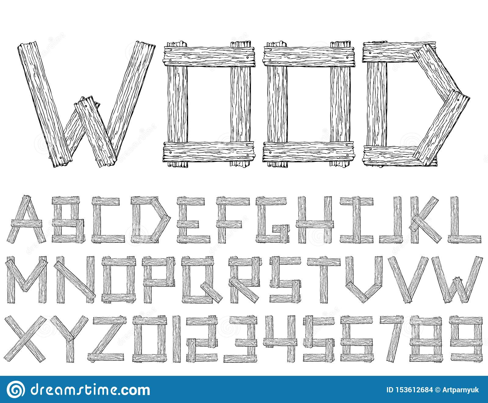 Set of vector wooden abstract font and alphabet