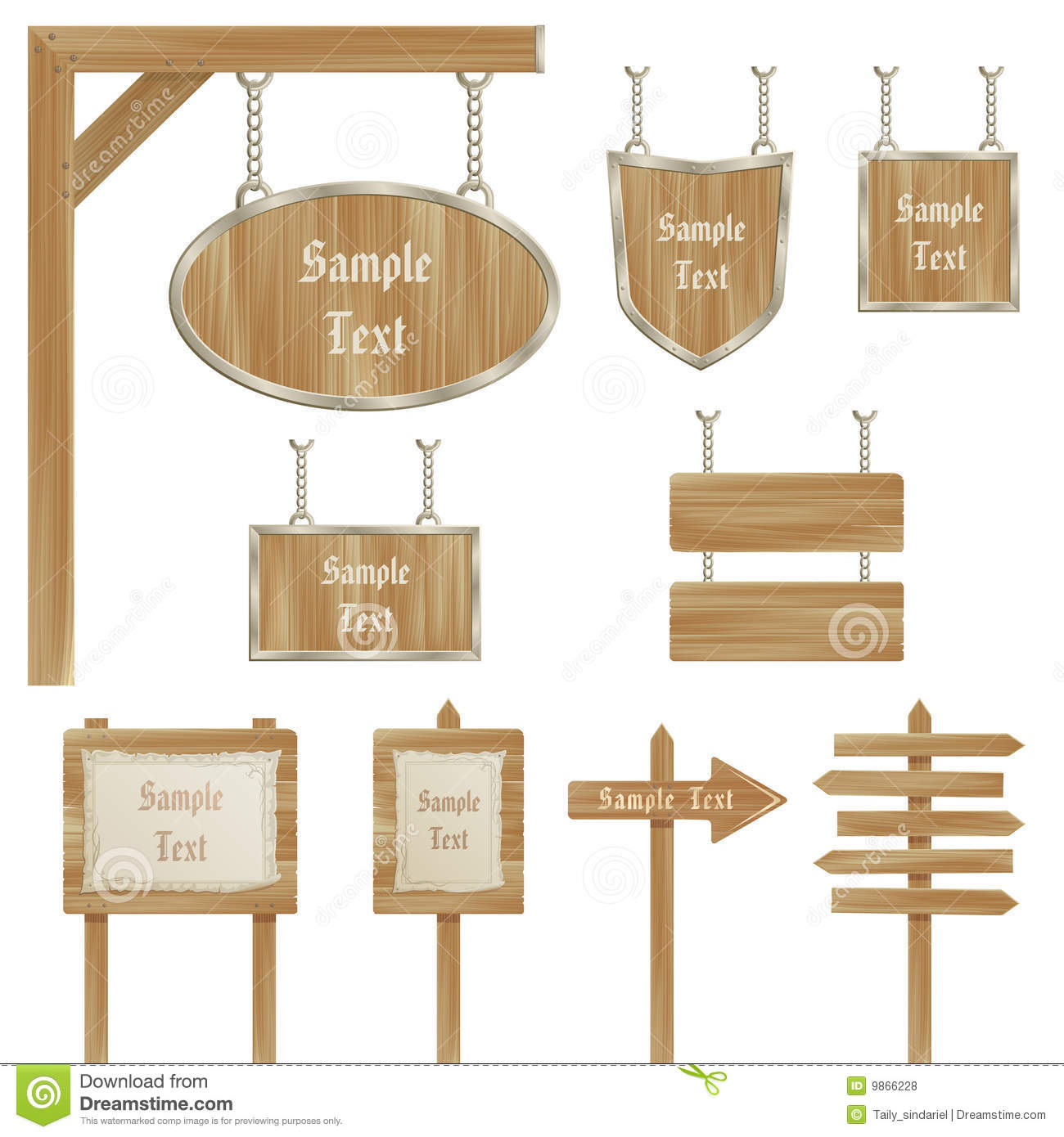 Set Of Vector Wooden Sign Posts Isolated On White Royalty ...