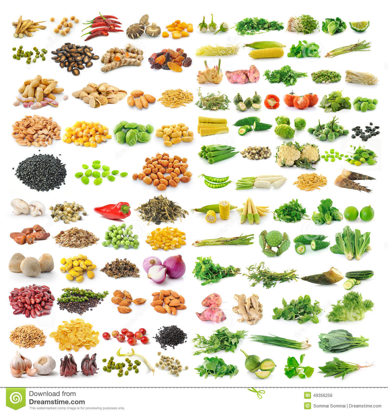 Download Set Of Vegetable Grains And Herbs On White Background Stock Photo - Image of corn, isolated: 49356256