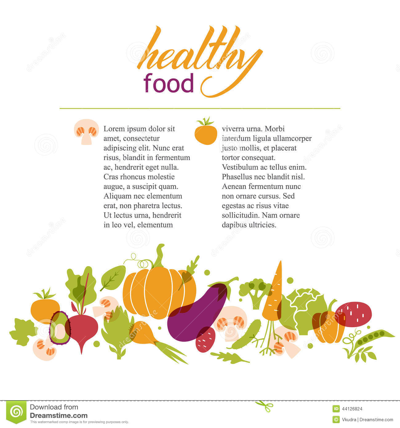 Set of vegetables healthy food table stock vector for Articles cuisine