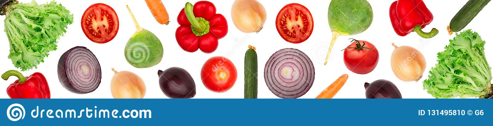Set vegetables isolated white background. Wide panoramic photo