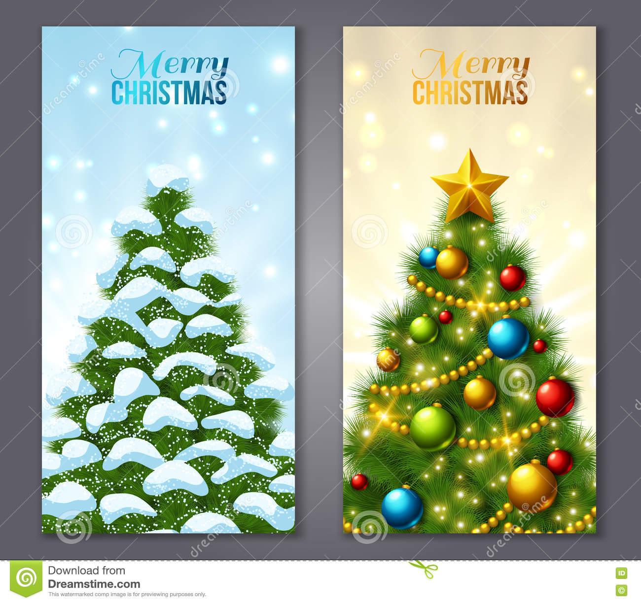 Set Of Vertical Banners With Christmas Trees Stock Vector ...