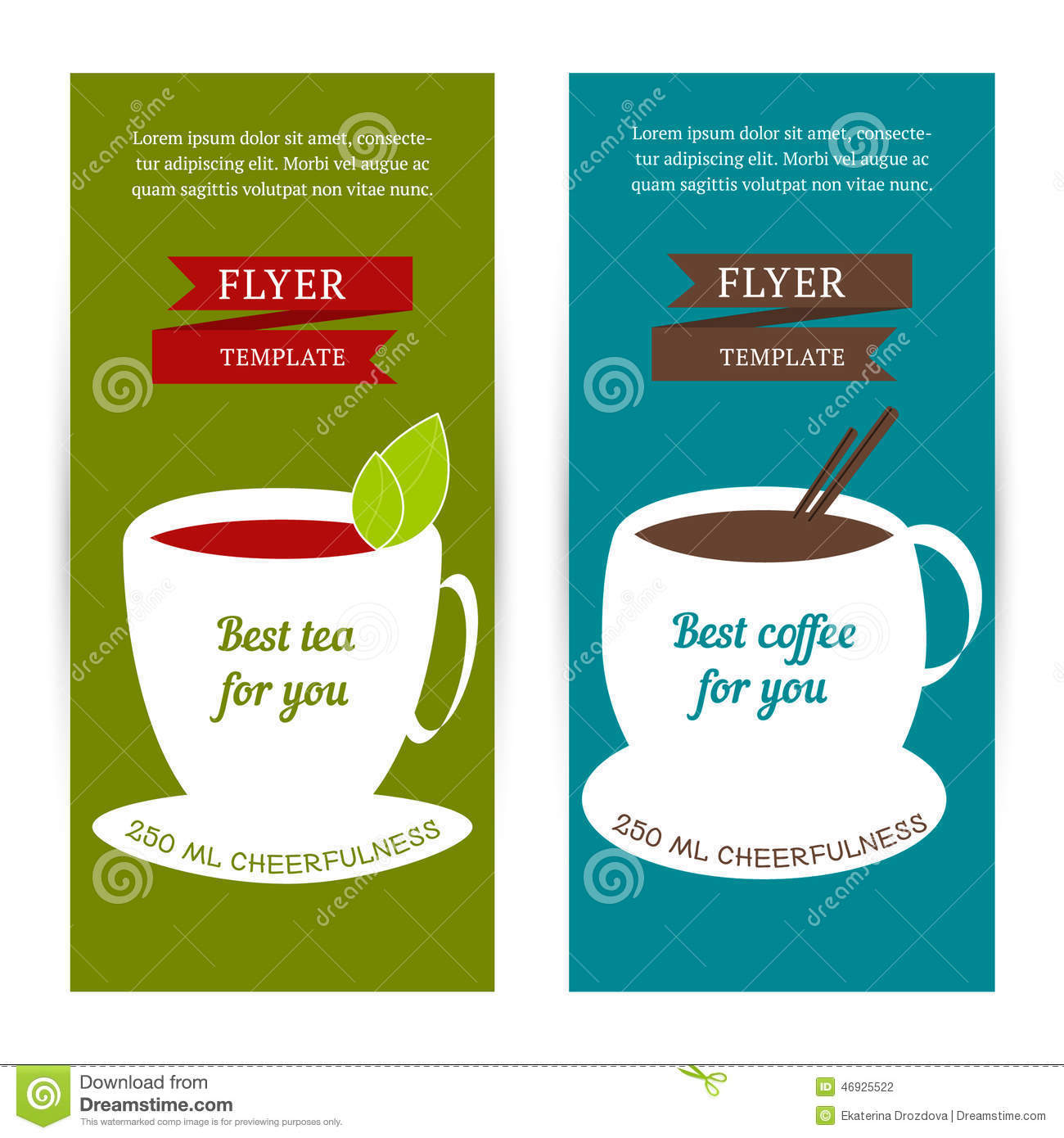 Download Set Of Vertical Banners Flyer Template With Coffee And Tea Concept Stock Vector