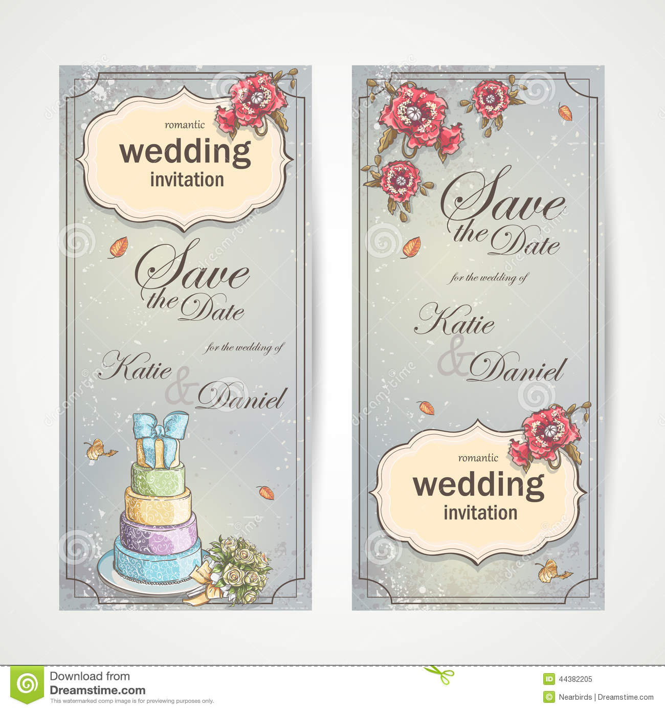 Set Of Vertical Banners Wedding Invitations With Red Poppies, Cake ...