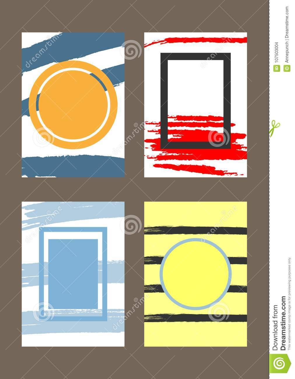 Set Of Vertical Trendy Templates With Frames For Design Of Greeting