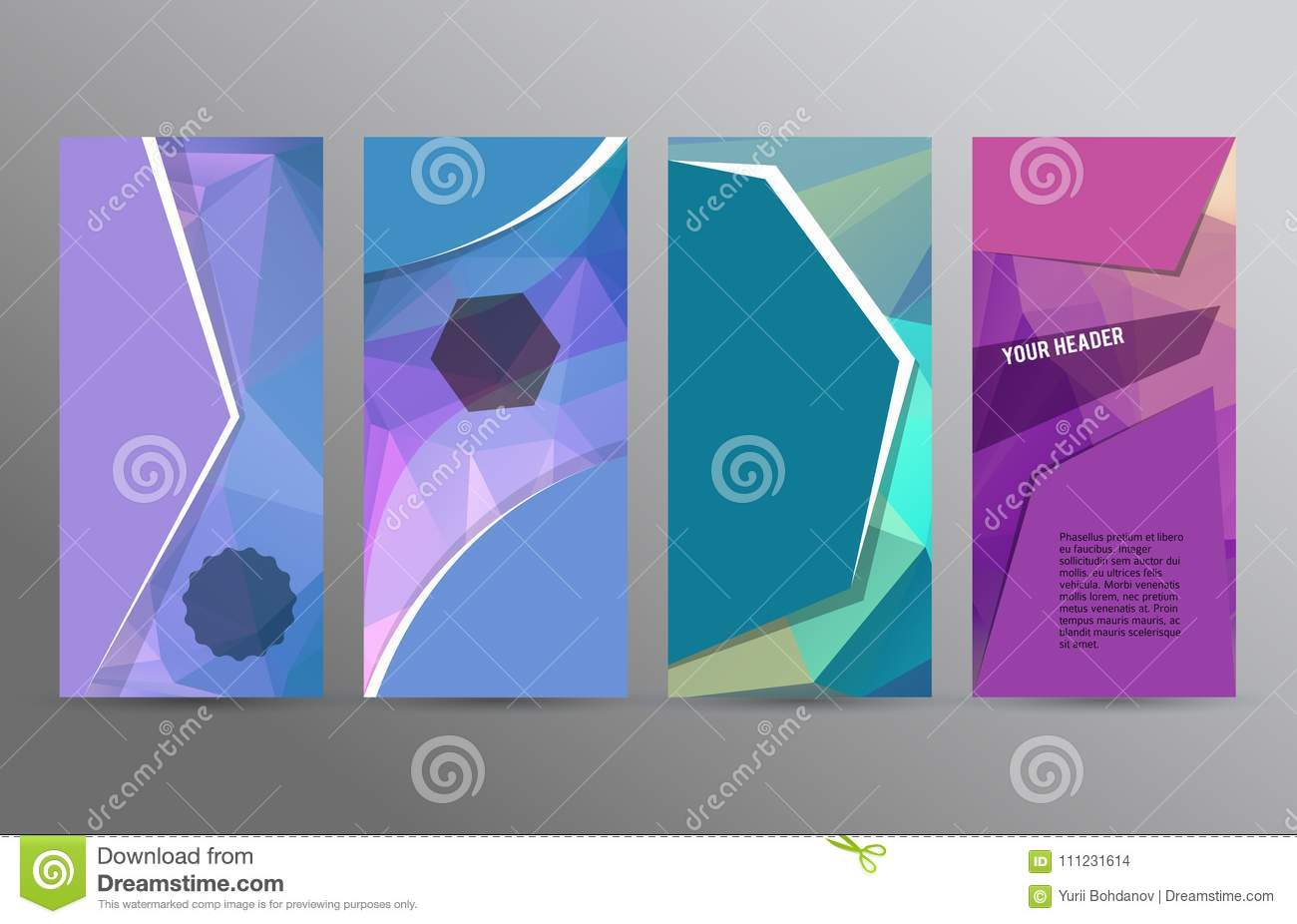 set of vertical web banner layout background21 stock vector
