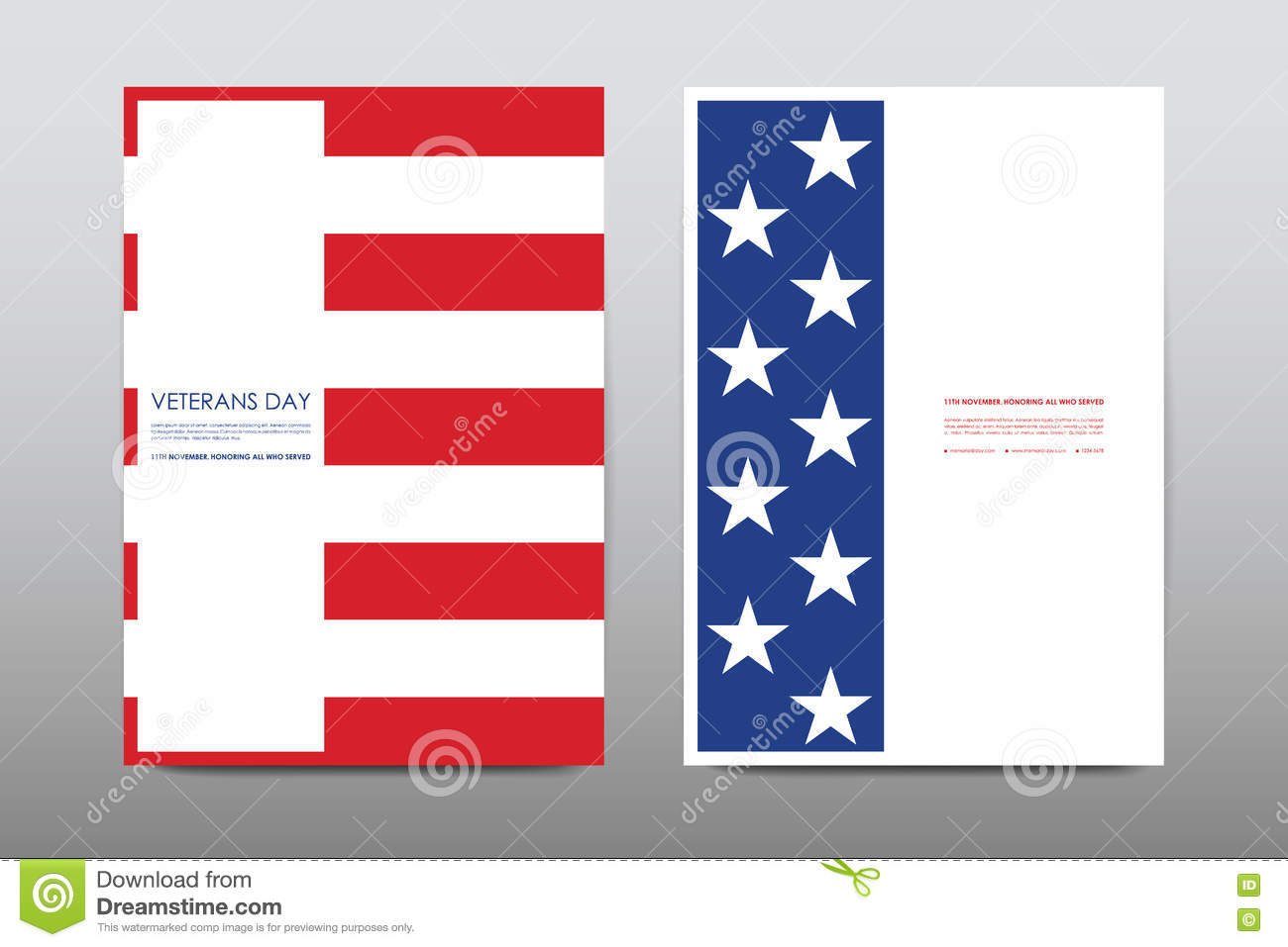 download set of veterans day brochure poster templates in usa flag style beautiful design