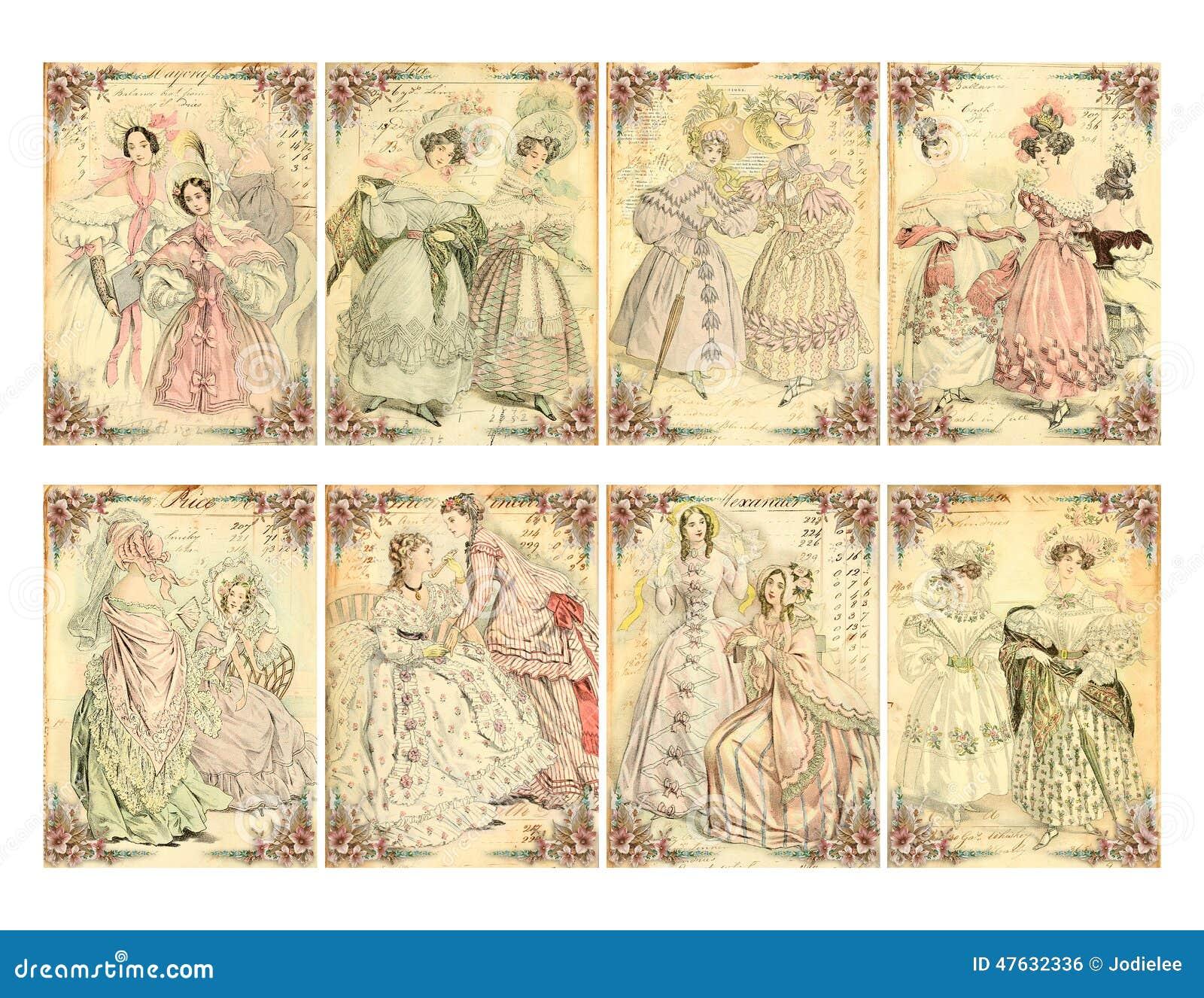 Set Of 8 Victorian Era Womenu0026#39;s Fashion Plate Cards Stock Illustration ...
