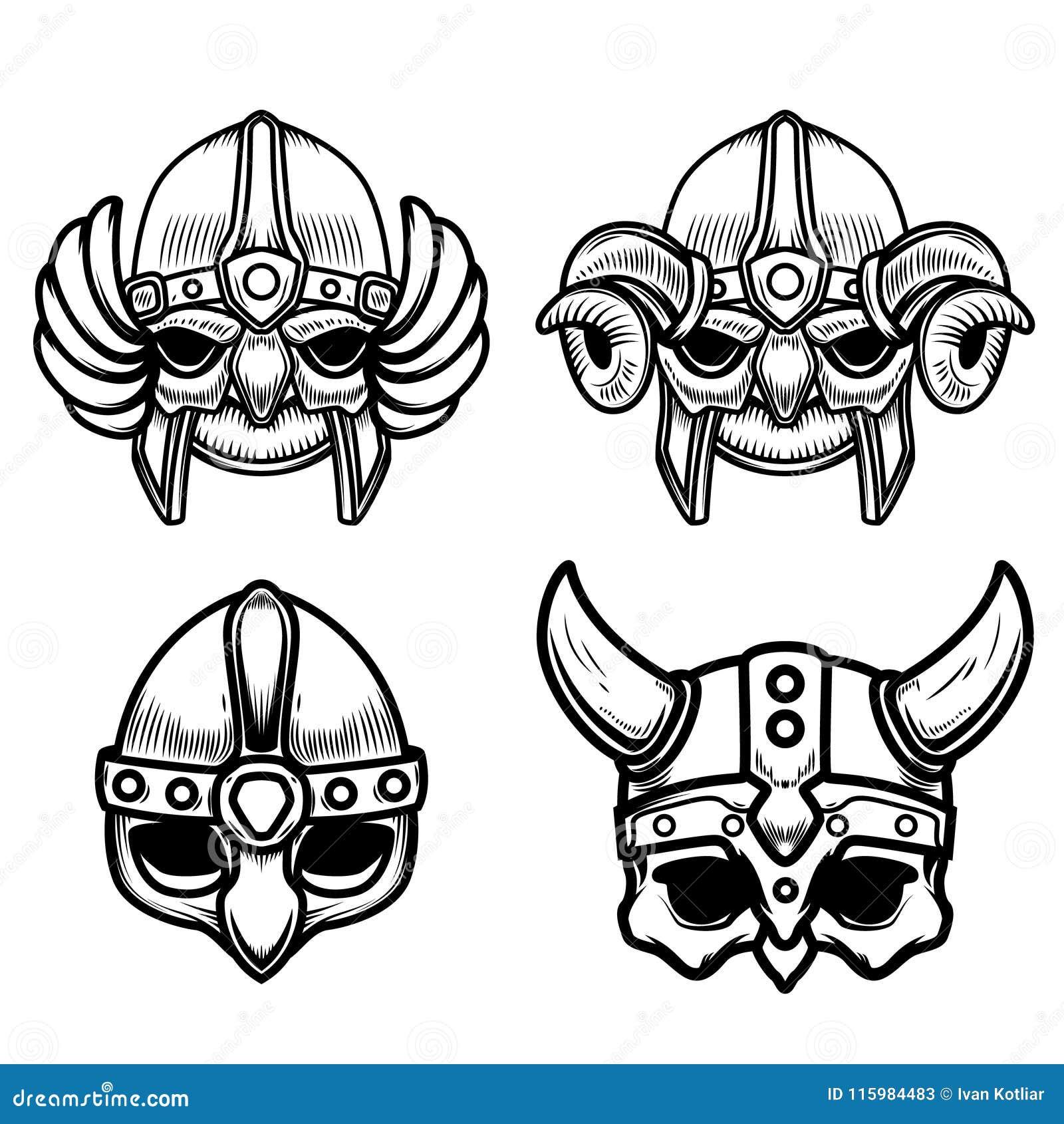Set Of Viking Helmets Isolated On White Background Design Element