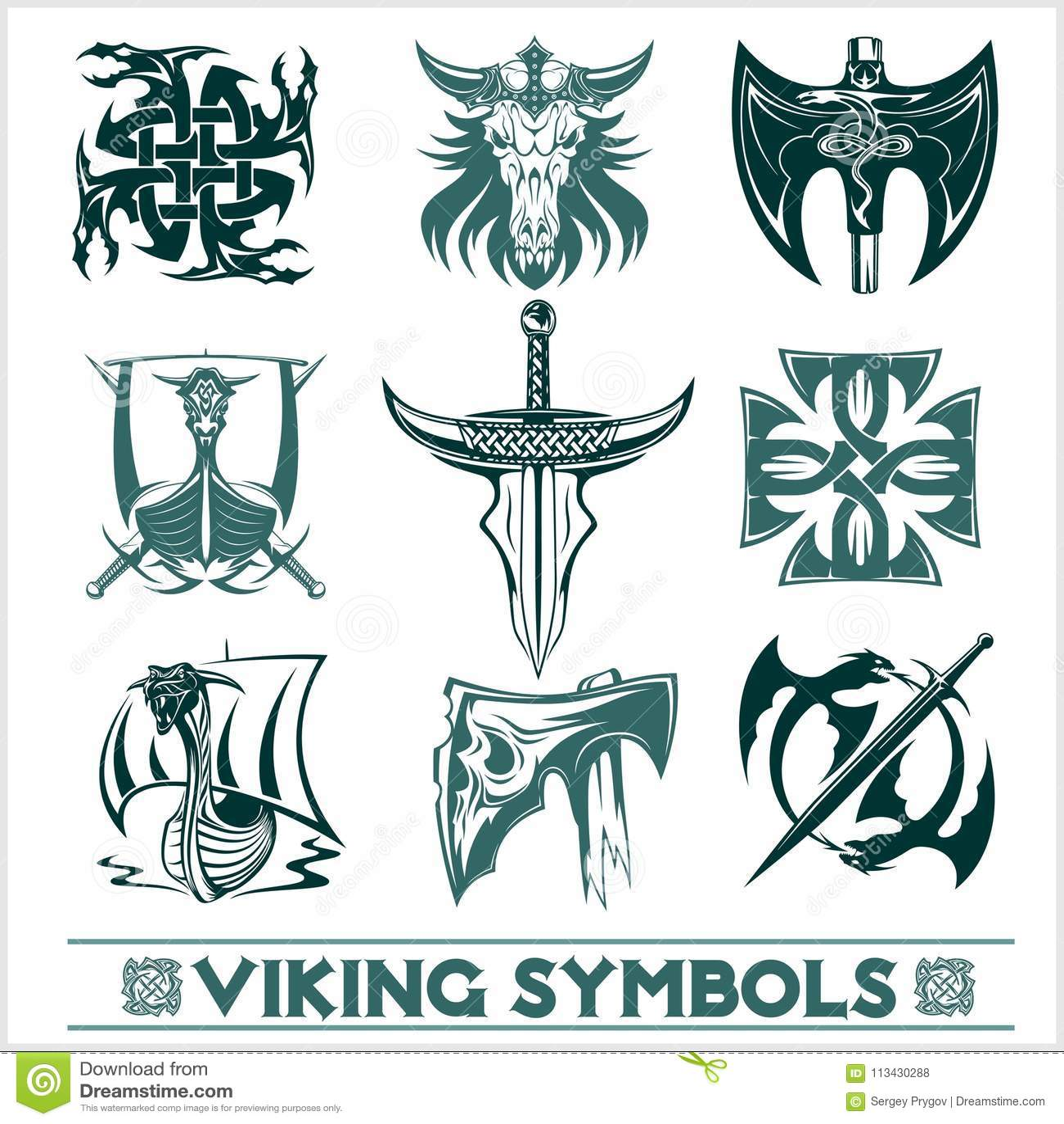 Set Of Viking Symbols Icons Vector Stock Vector