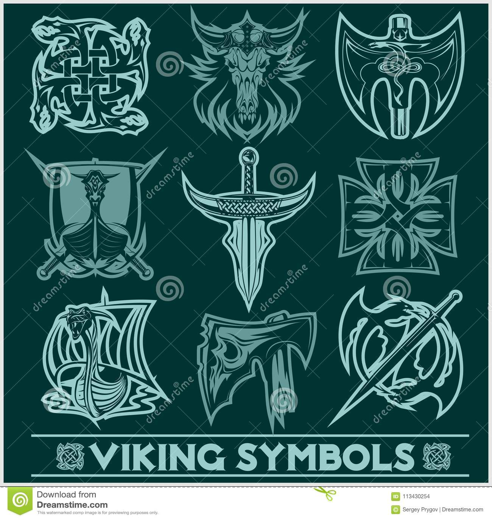 Set Of Viking Symbols Icons Vector Stock Vector Illustration Of