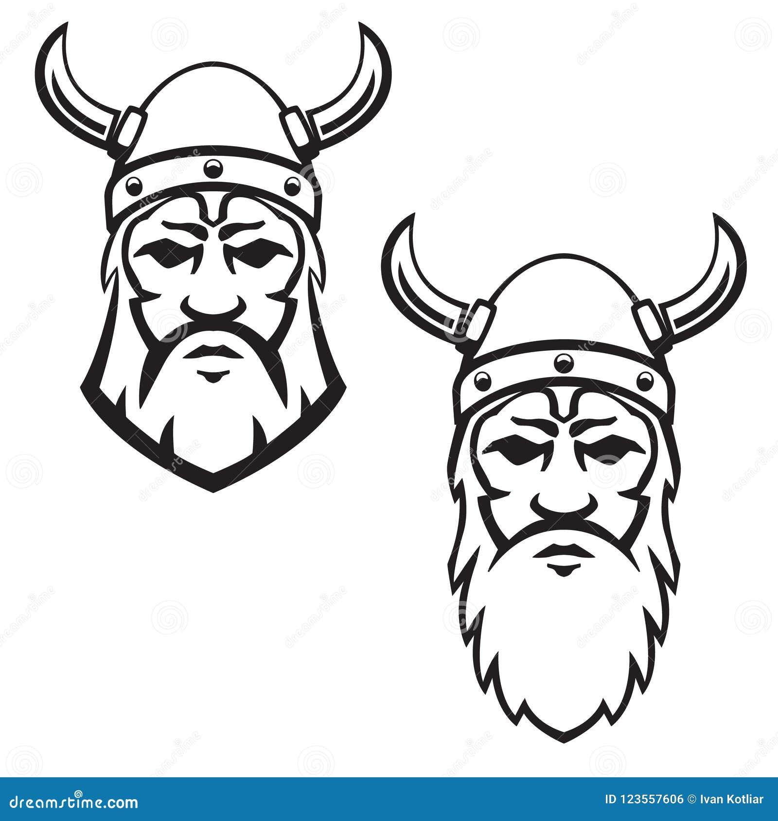 Set Of Viking Warrior Head Design Element For Emblem Sign Badge