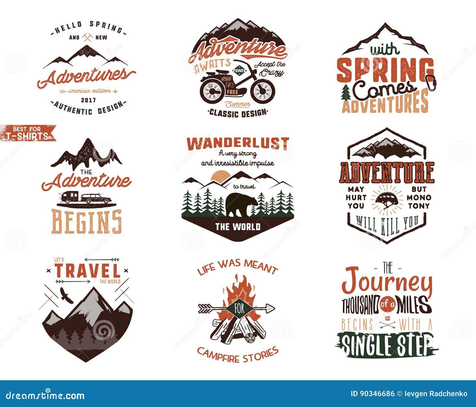 Set Of Vintage Adventure Tee Shirts Designs Hand Drawn Travel
