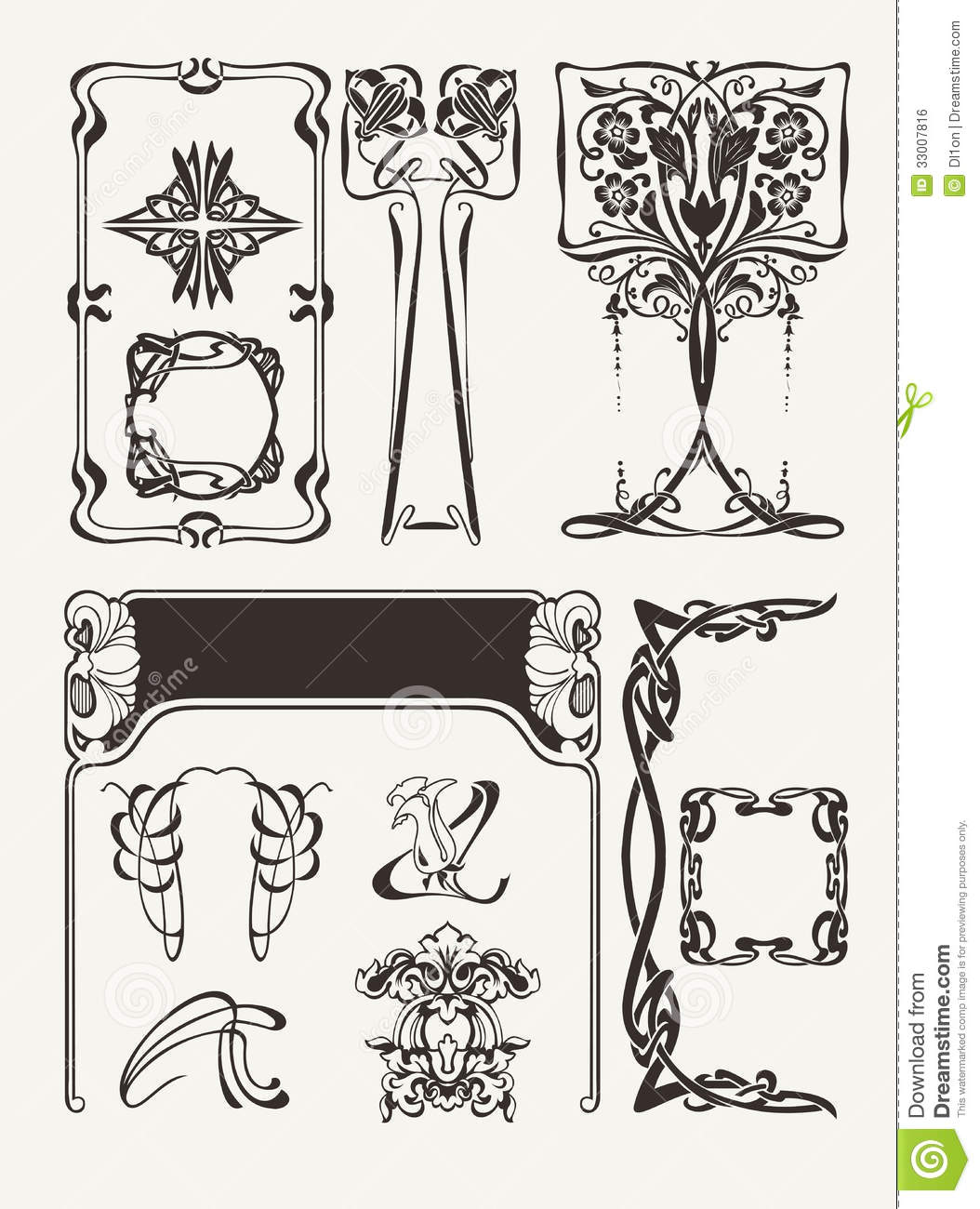 Set of vintage art deco design elements royalty free stock - Art deco design elements ...