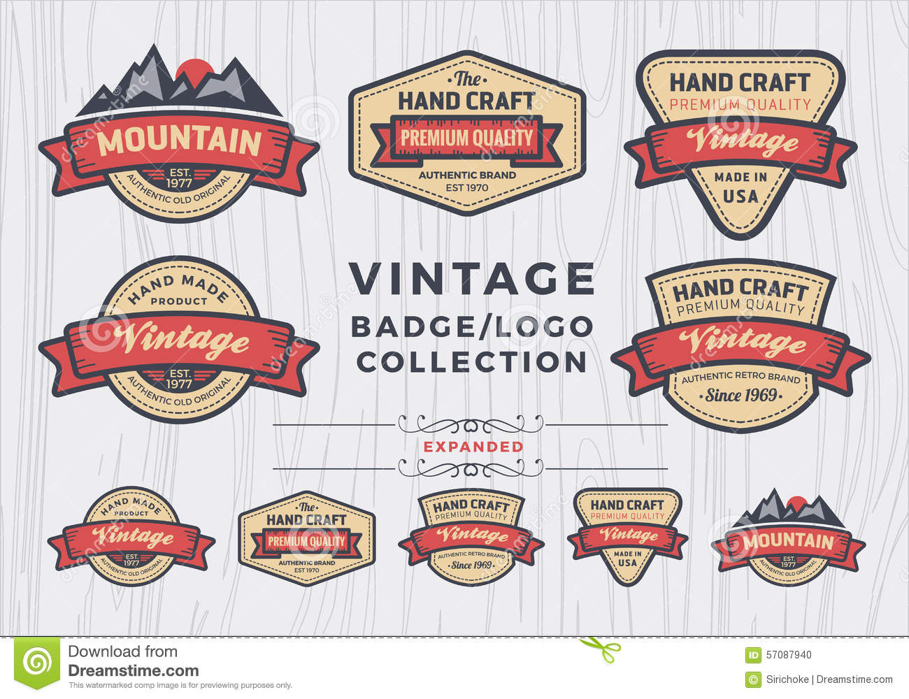 Set Of Vintage Badge Logo Design Retro Badge Design For