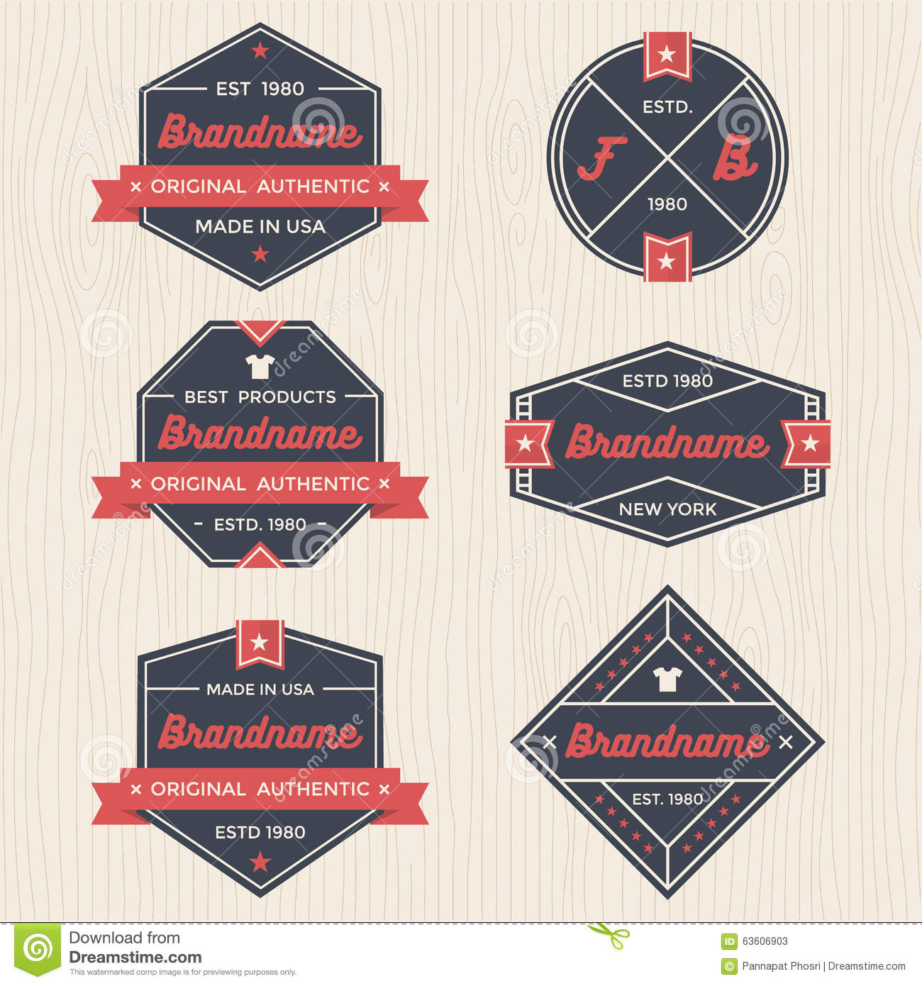 Set Of Vintage Badges, Banners, Label, Ribbon And Logo Template ...