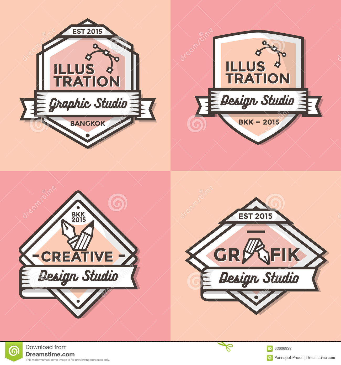 Set Of Vintage Badges, Banners, Label, Ribbon And Logos Template