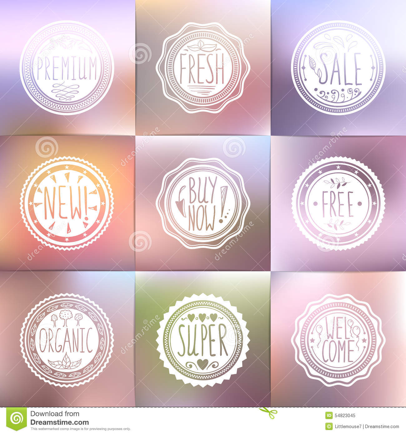 Set of vintage badges and blurred backgrounds. Hand-drawn lettering
