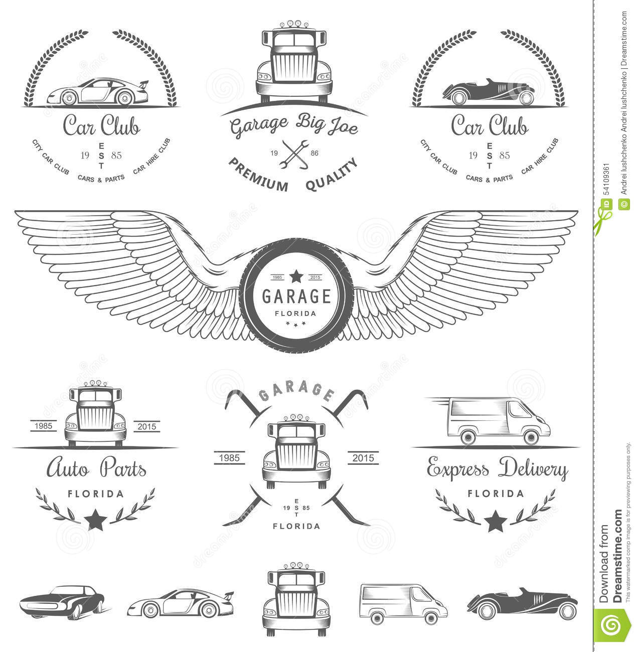 Set of vintage badges car club and garage stock for Auto p garage roussillon