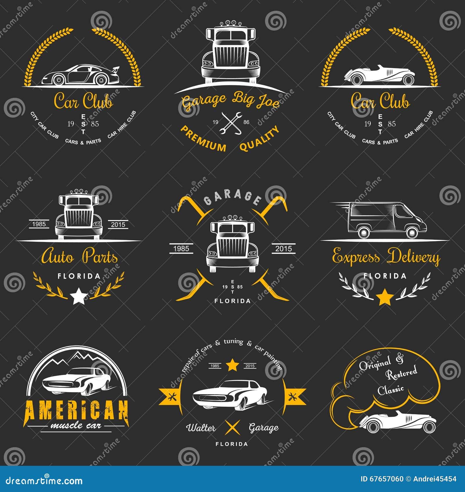 Set Of Vintage Badges Car Club And Garage Stock Illustration