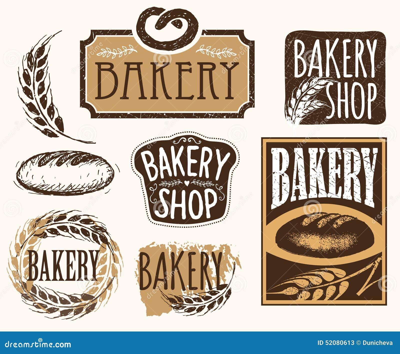 Set Of Vintage Bakery Labels , Badges And Design Elements
